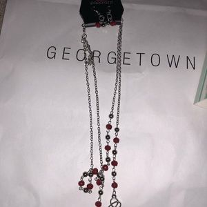 Red decorative necklace W/ Earrings